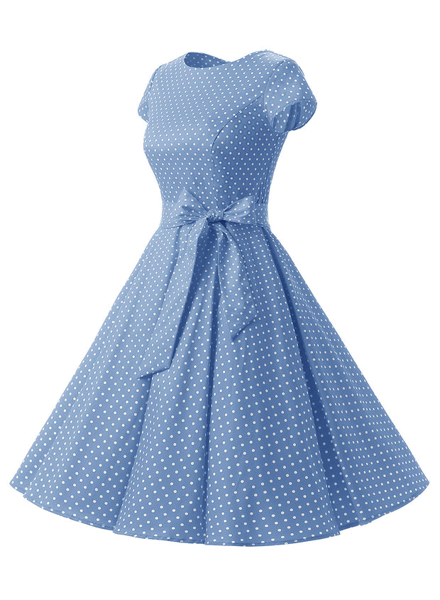 Sky Blue 1950s Vintage Dress Cap Sleeve