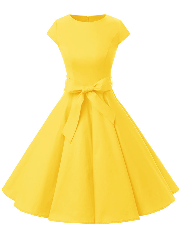 Yellow 1950s Vintage Dress Cap Sleeve