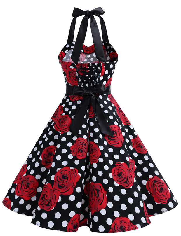 Black White Rose Retro 50's 60's Vintage Dress