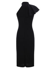 Dressystar Black Women's One Shoulder Sleeveless Knee Length Party Dress