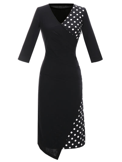 Dressystar Black Polka Dot Party Dress with Sleeve Pencil Dress