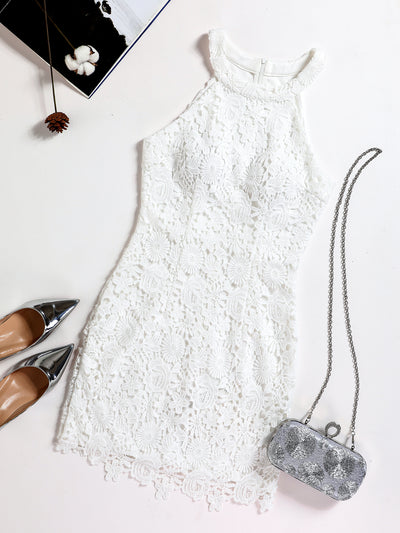 Romantic Ivory Lace Mini Dress