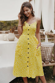 Dressystar Yellow Women Floral Print Boho Casual Dress V Neck Summer Party Dress