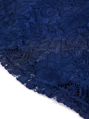 Dressystar Navy Lace Backless Mini Dress Detail