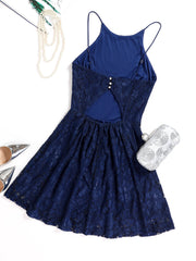 Dressystar Navy Lace Backless Mini Dress back
