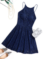 Dressystar Navy Lace Backless Mini Dress Main