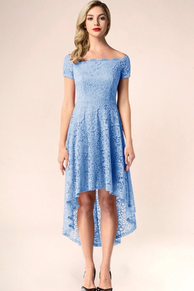 blue off shoulder lace high low formal dress