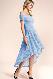 blue off shoulder lace high low homecoming dress
