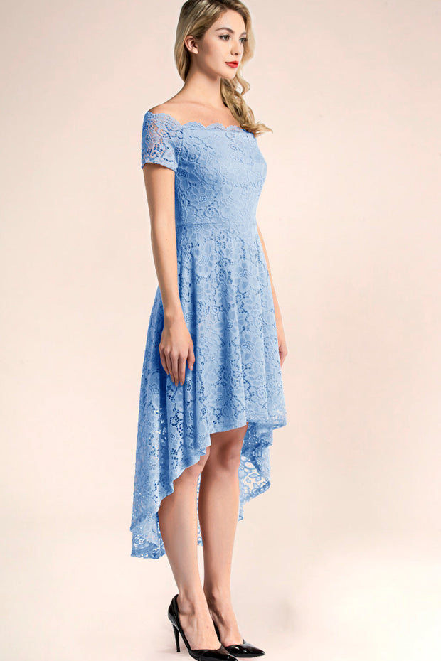 blue off shoulder lace high low cocktail dress