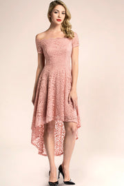 dressystar blush off shoulder lace high low bridesmaid dress