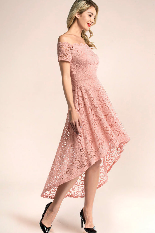 dressystar blush off shoulder lace high low dress side