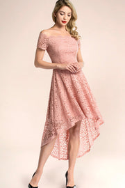 dressystar blush off shoulder lace high low cocktail dress