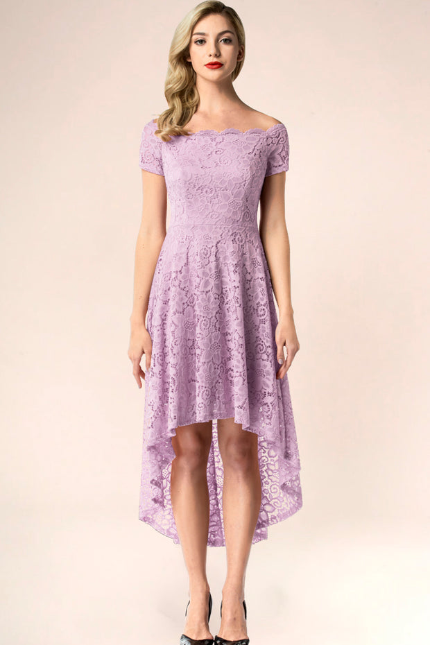 dressystar lavender off shoulder lace high low dress front