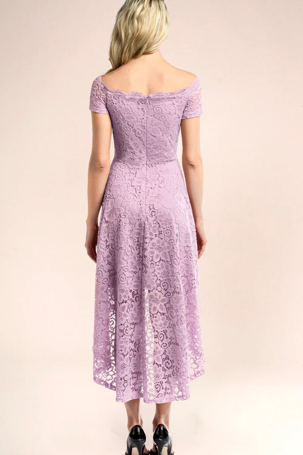dressystar lavender off shoulder lace high low dress back