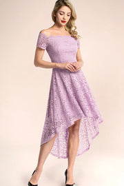 dressystar lavender off shoulder lace high low party dress