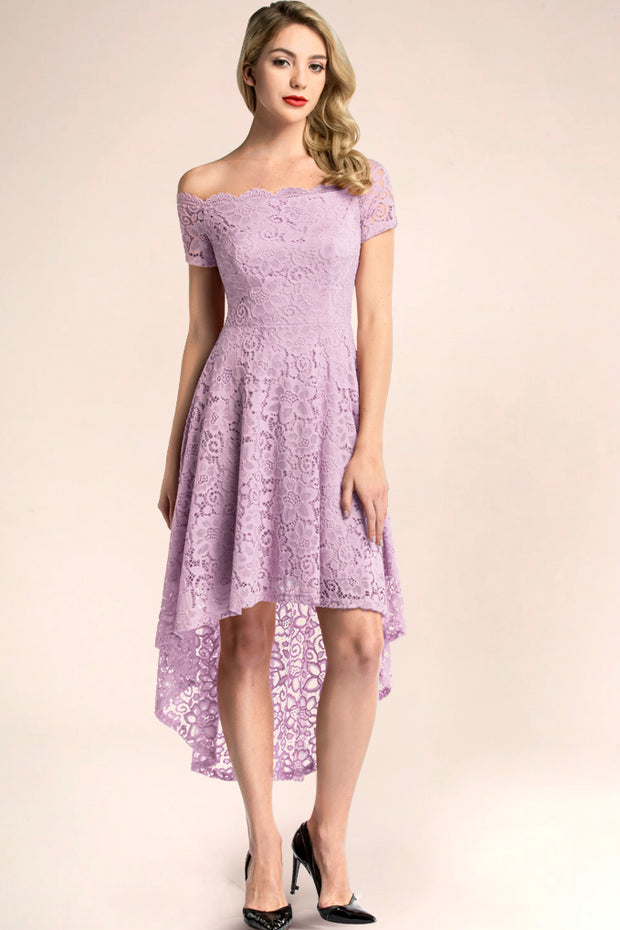dressystar lavender off shoulder lace high low cocktail dress