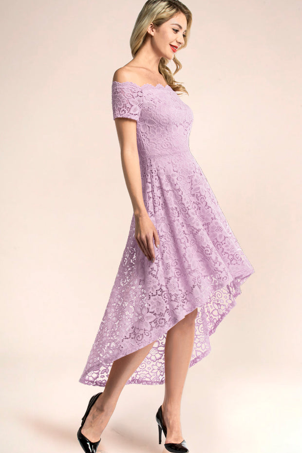 dressystar lavender off shoulder lace high low dress side
