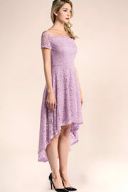 dressystar lavender off shoulder lace high low formal dress