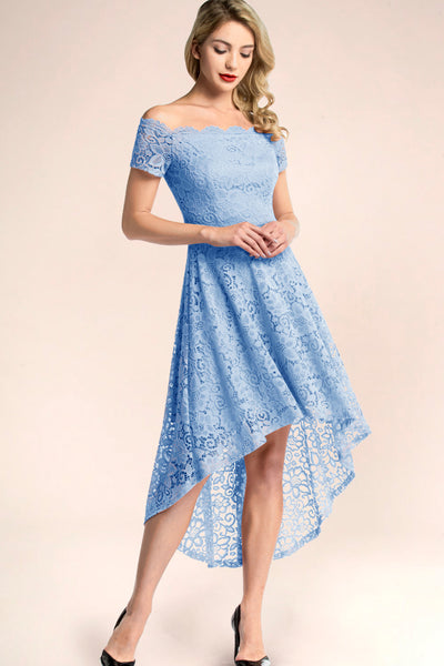 blue lace bridesmaid dress