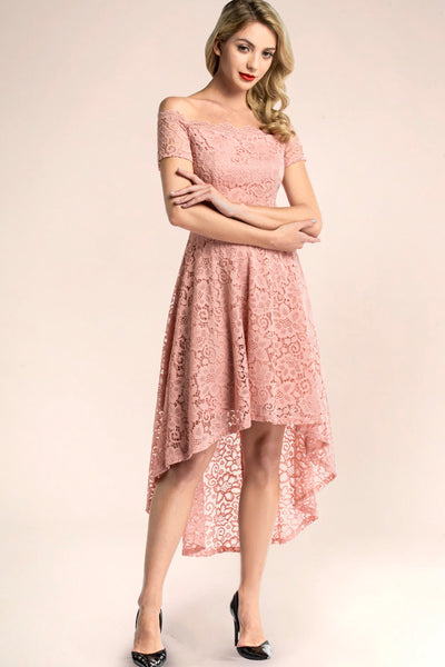 dressystar blush off shoulder lace high low dress main