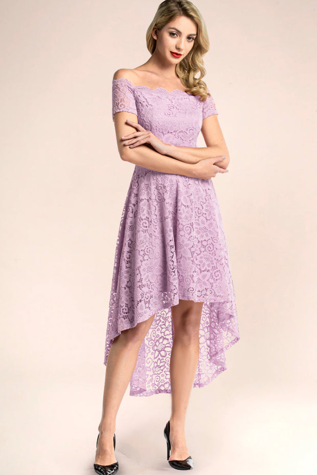 dressystar lavender off shoulder lace high low bridesmaid dress