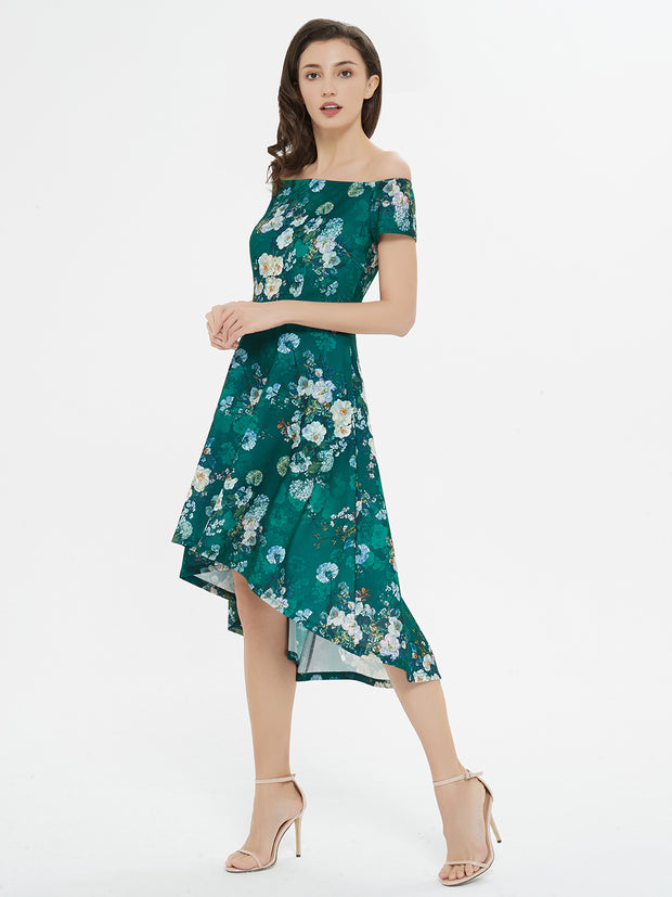 Floral Dressed Up Green Floral Print High-Low Dress
