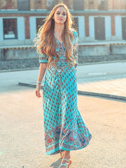 Dressystar Floral Print Maxi Dress Short Sleeve Beach Summer