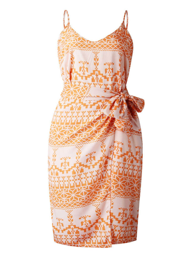 Orange Summer Print Wrap Midi Dress