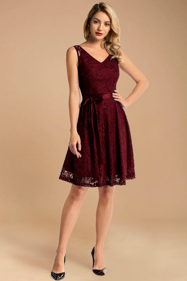 v neck short lace bridesmaid dress