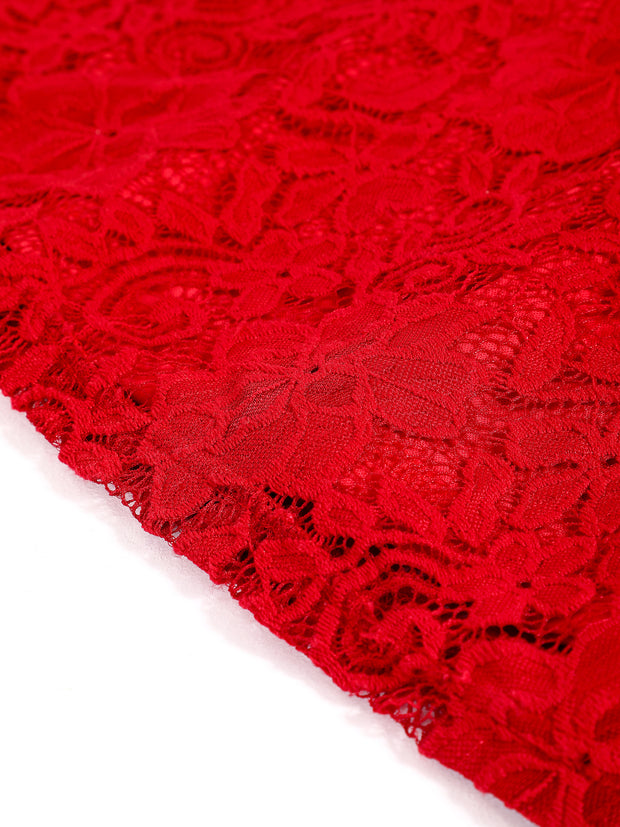 Dressystar Red Lace Backless Mini Dress Detail
