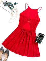 Dressystar Red Lace Backless Mini Dress Back
