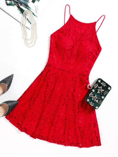 Dressystar Red Lace Backless Mini Dress Main