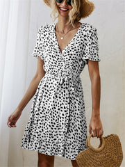 Black and White Print Short Sleeve Wrap Dress
