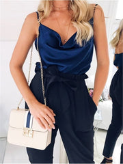 Silky Casual Vest Top Navy Blue