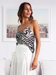 Summer Sexy Silky Casual Top Zebra Pattern