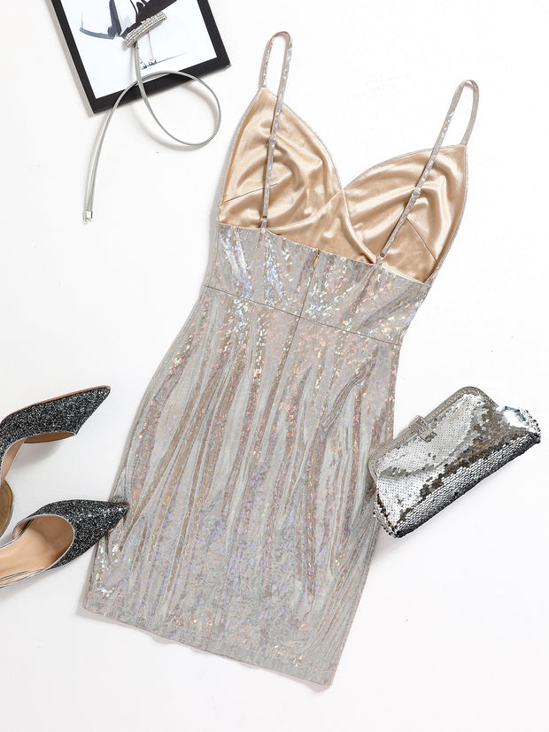 Shining Bright Silver Multi Sequin Mini Dress