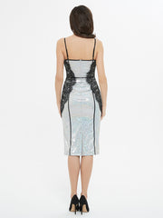 Shine On Me Silver Sequin Bodycon Midi Dress