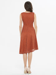Caramel Brown Lace Asymmetrical Dress