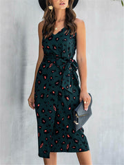Chic Style Green Print Wrap Midi Dress