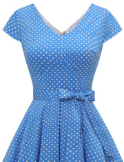 Dressystar women short v neck cap sleeve vintage dress VT50 bluedot front detail