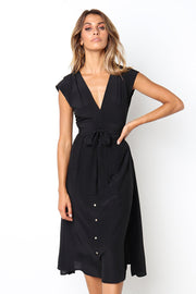 Dressystar Black Women Work Casual Midi Dress with Belt