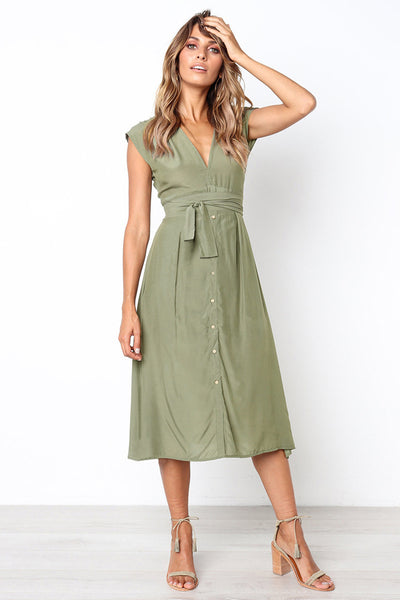 Dressystar Green Summer Casual Short Sleeve Swing Dress with Belt