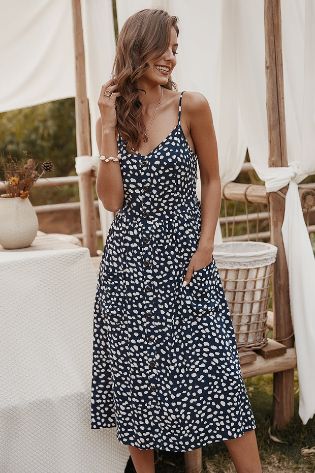 Dressystar Navy Women Summer Casual Dress with Straps Midi Dress