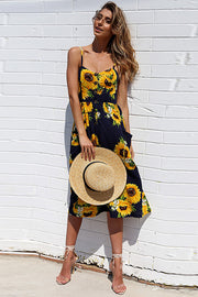 Dressystar Navy Women Casual Dress Boho Floral Print Beach Summer Dress
