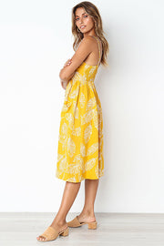 Dressystar Yellow Casual Loose Floral Print Dress with Pockets Summer