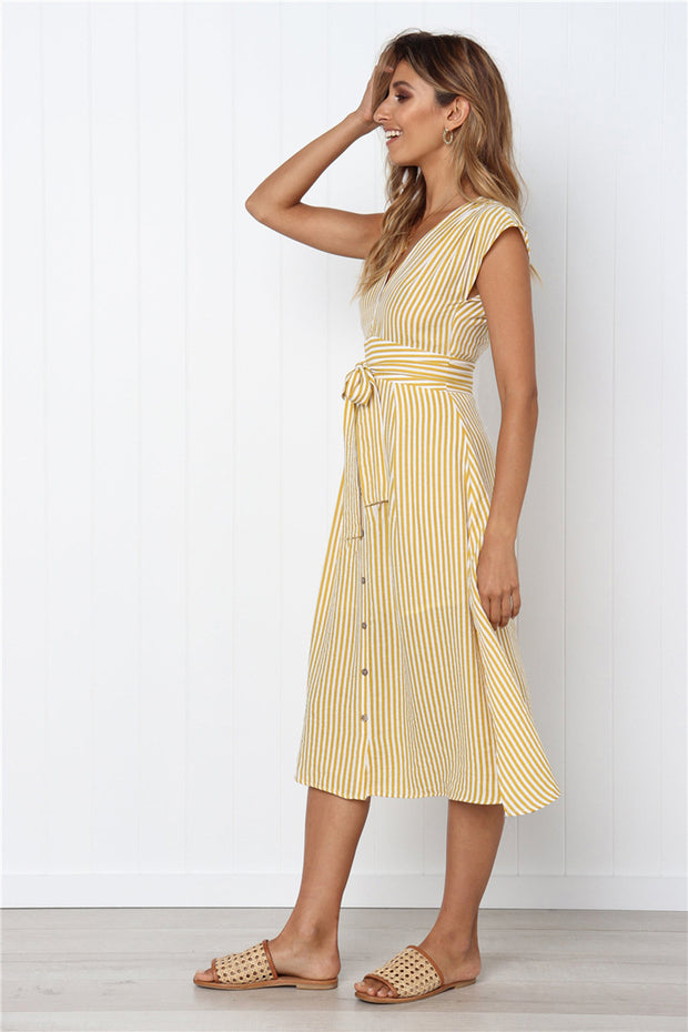 Dressystar Yellow Women Striped Casual Short Sleeve Summer Dress with Belt