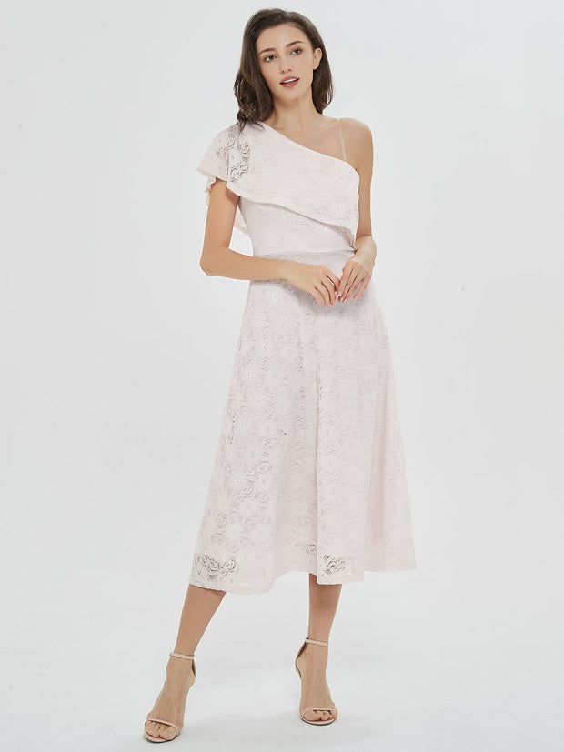 White Ruffled One-Shoulder Midi Dress