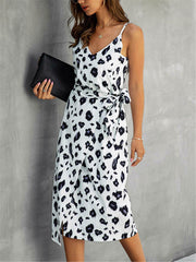 White Summer Print Wrap Midi Dress