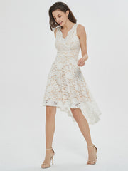 Love Swept White Sleeveless Lace High-Low Midi Dress