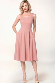 Dressystar women blush tea length swing dress front